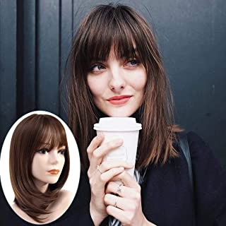 Miman Short Bob wig Straight Shoulder Length Wig Brown with Air Bangs Layered Heat Resistant Synthetic Hair Wigs for Women