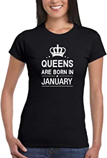 TheYaYaCafe Yaya Cafe Queens are Born in January Birthday Women T-Shirt Cotton