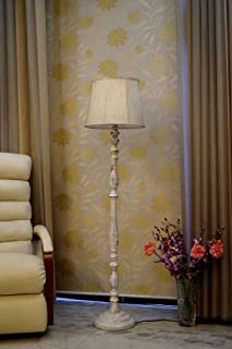 Vintage White Mango Wood Floor LAMP with Shade- CYLEDRICAL -Color-Khadi