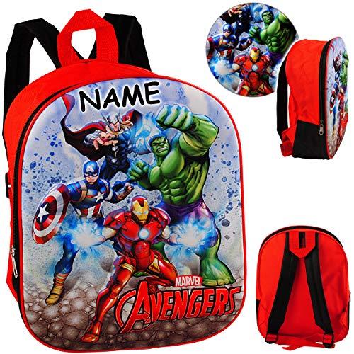 alles-meine.de GmbH 3D Effekt _ Kinder Rucksack - Avengers - inkl. Name - Tasche - wasserfest & beschichtet - Kinderrucksack groß Kind - Jungen - Kindergartentasche - z.B. für Vo..