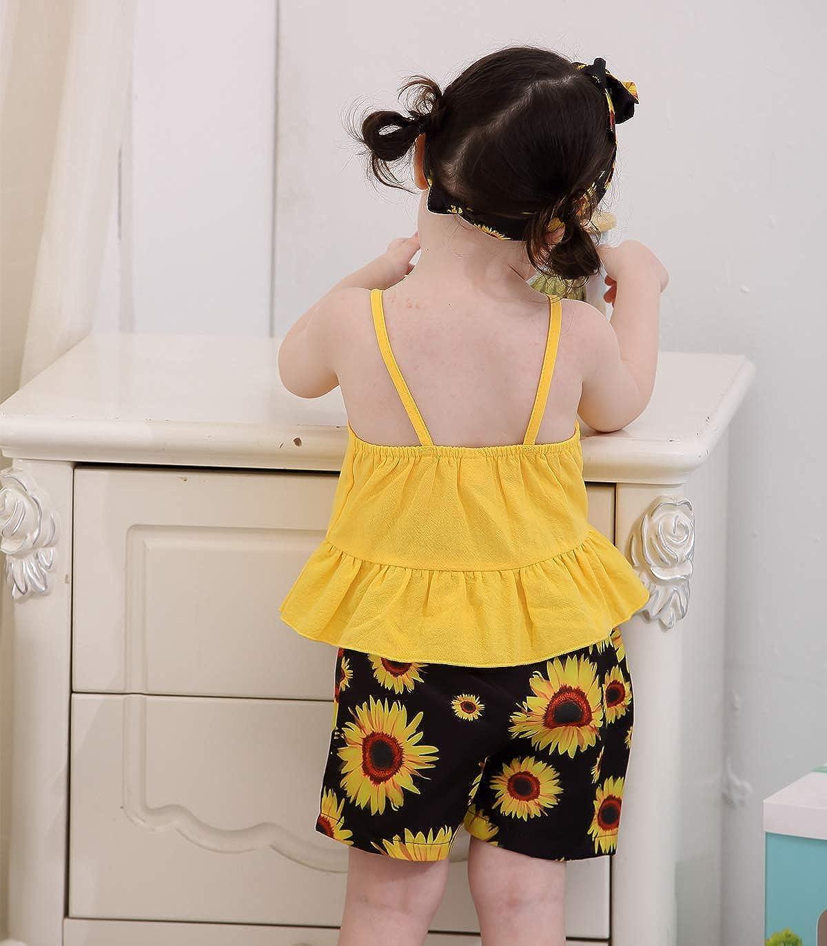 Kucnuzki Toddler Baby Girl Clothes Summer Outfits Ruffle Sleeveless Linen Shirt Kid Short Set for Girl