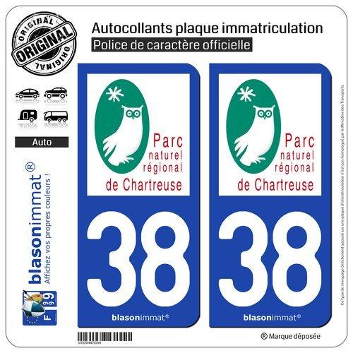 blasonimmat 2 Autocollants Plaque immatriculation Auto 38 Chartreuse - Parc Naturel Régional