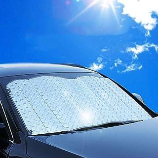 車の日よけのフロントガラス サンシェード フロントファイル厚 サンシェード 日焼け止め絶縁 サンバイザー SUVのための柔軟なサイズ トラック 大型または小型のウインドスクリーンカーにフィット,140*75