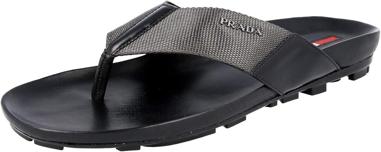 Prada Men's Nastro Nylon with Leather Thong Sandals, Grey Black 4Y2211
