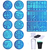 Biutee 13pcs Nail Plates Stamper Tampon Grattoir Sets Nail Art Stamping Vernis Outil Image Fleur/Forêt/Rose/Coeur pour Elle