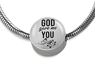 Express Your Love Gifts God Gave Me You Scripture-Inspired Jewelry Stainless Steel Circular Charm Bracelet