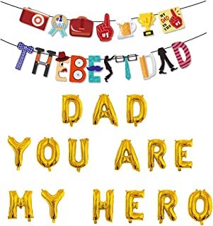 Father's Day Balloons You Are My Hero with Banner Foil Balloons Latex Balloons Perfect for Father's Day Party Supplies (Yo...