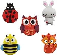 5X8GB Cartoon Animals USB 2.0 Thumb Drive Novelty and Cute Pen Drive Lovely Flash Drive Jump Drive Gifts(Pack of 5: Bee, Ladybug, Rabbit, Owl, Fox)