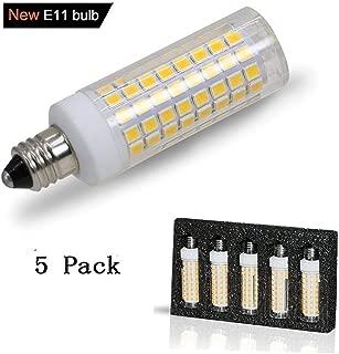 [5-Pack] E11 led Bulb, 75W or 100W Equivalent Halogen Replacement Lights, Dimmable, Mini Candelabra Base, 850 Lumens, Warm White 3000K,AC110V/ 120V/ 130V, Replaces T4 /T3 JD e11 Light Bulb.