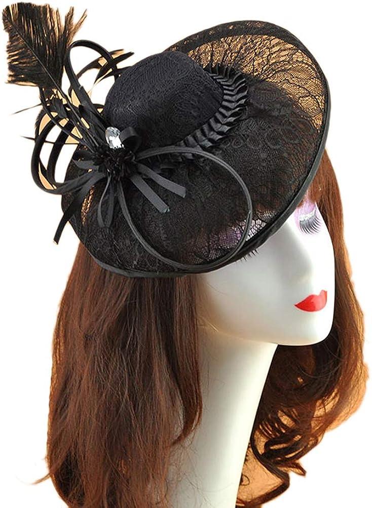 Eliffete Women's Fascinators Cocktail Party Wedding Headwear Feather Hair Clip