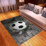 CQIIKJ Alfombra Estampada Fútbol óptico Gris ladrillo Blanco Negro Alfombra Antideslizante Alfombra Lavable 120 x 170 cm para la Entrada de casa, baño o Dormitorio Lavandería