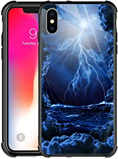 iPhone Xs MAX Case, Sea Lightning Dark Storm,9H Tempered Glass iPhone Xs MAX Case for Men Boys,Duty Shockproof Protective Cover for Apple iPhone Xs MAX