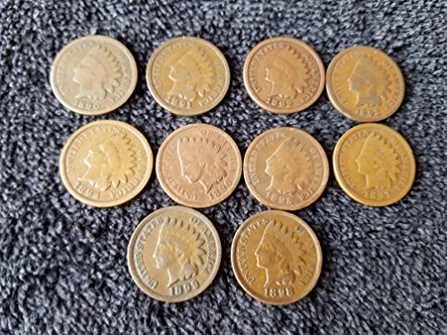 1890 1891 1892 1893 1894 1895 1896 1897 1898 1899 Complete Decade U.S. Indian Head Cents - 10 coins Penny Circulated