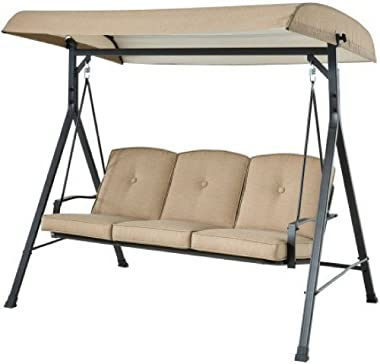 Mainstay Forest Hills 3-Seat Cushion Canopy Porch Swing, Tan