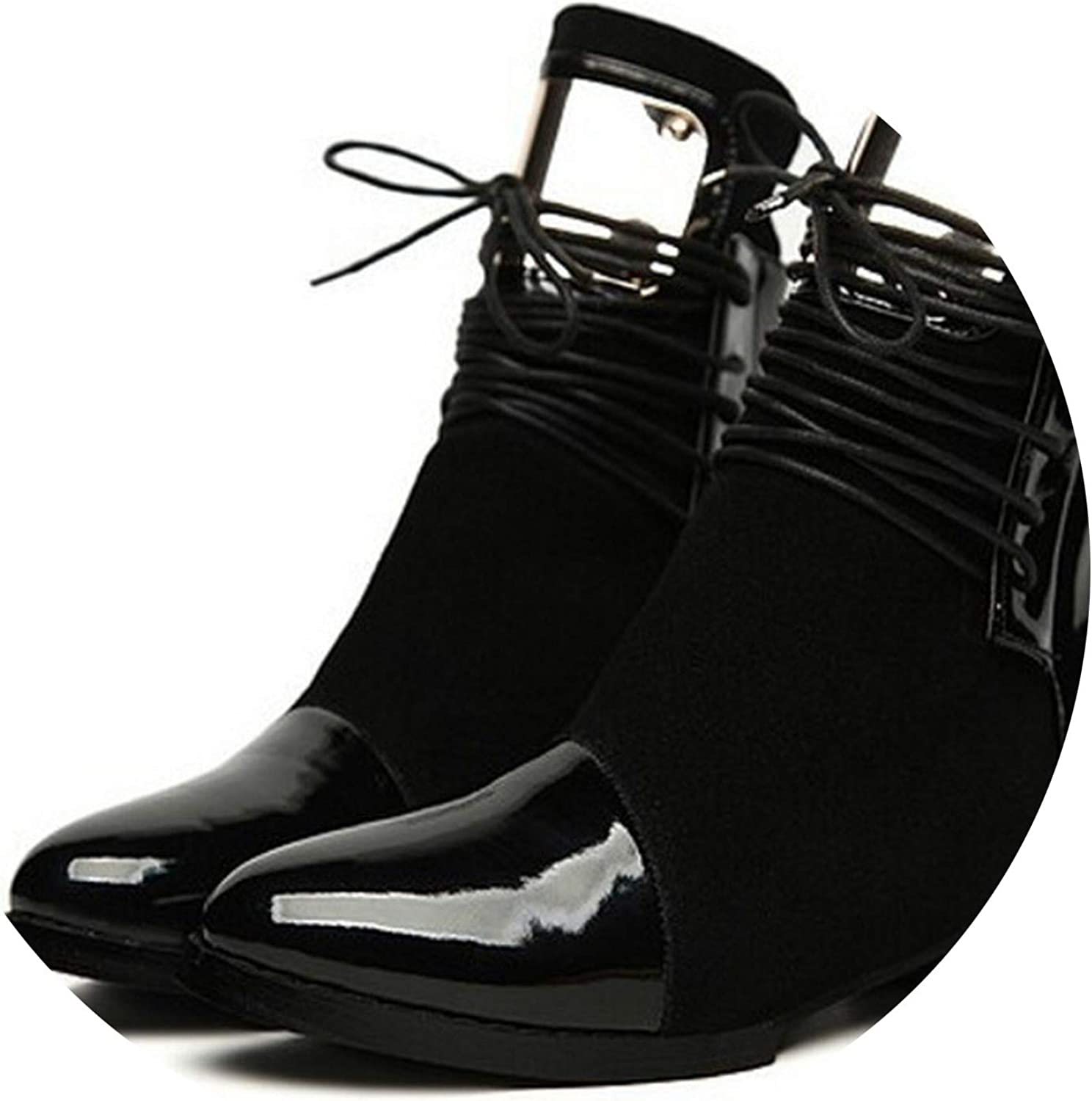 Meet- fashion Women Boots Genuine Leather Flat Martin Ankle Boots Womens Boots shoes Women Leather Botas