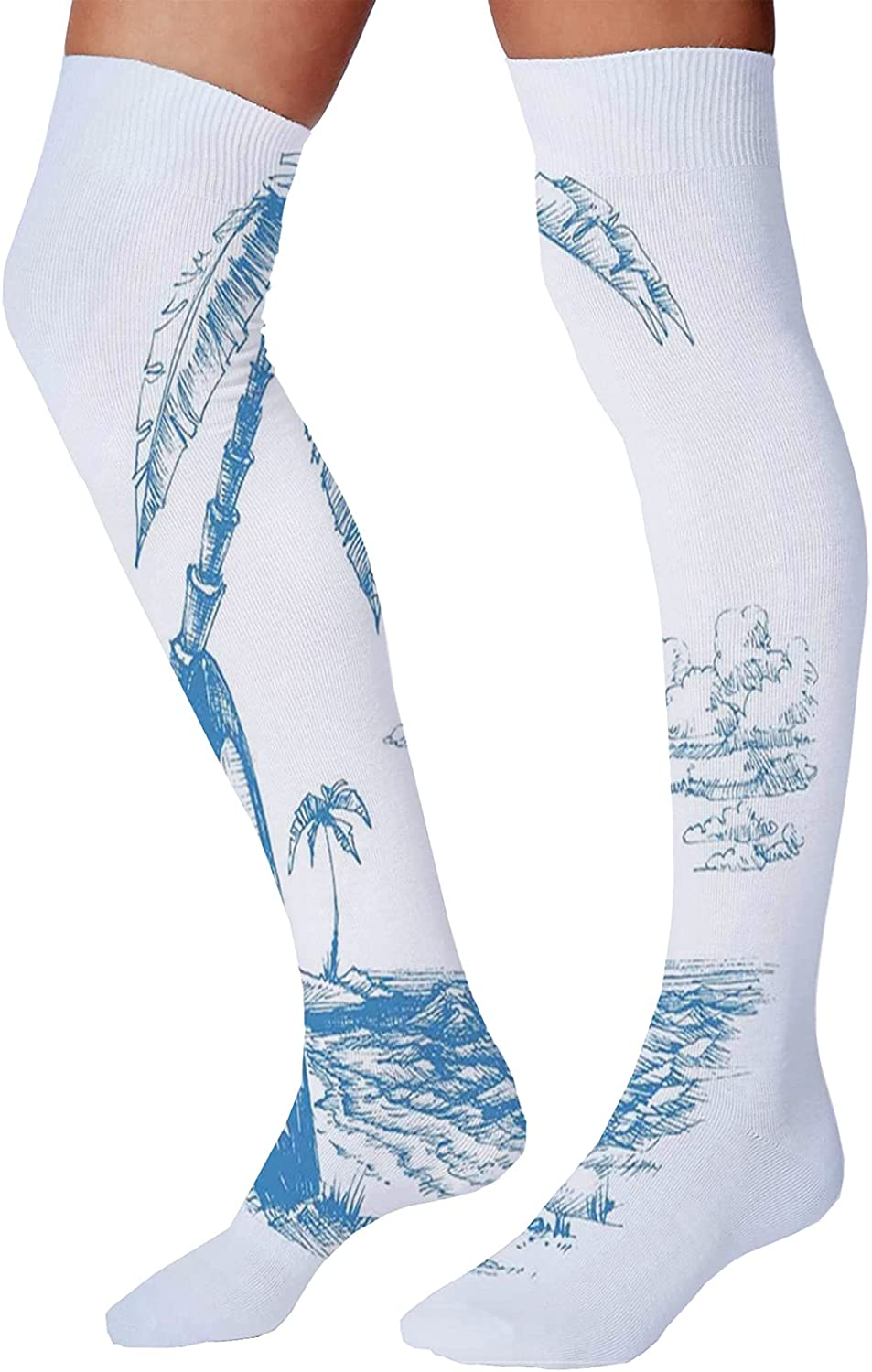 Unisex Dress Cool Colorful Fancy Novelty Funny Casual Combed Cotton Crew SocksContemporary Sketch Illustration Hawaiian Beach with Surfboard Palms and Ocean Water