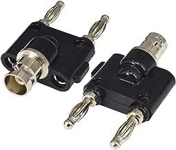 BNC Female to Dual Banana Male Plug Jack Binding Posts RF Coaxial Adapter BNC to Banana Coax Jack Connector Pack of 2