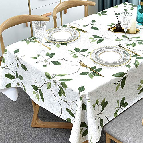 Plenmor Mantel cuadrado de PVC para cocina, mesa de comedor, limpieza de plástico, mantel para interior y exterior (137 x 137 cm, hojas verdes)
