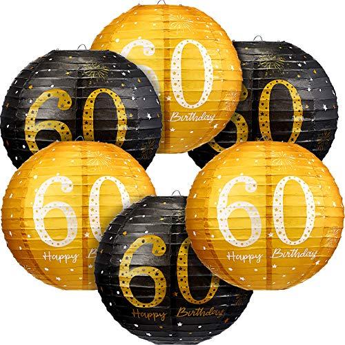 6 Stücke 60. Geburtstag Dekorationen Happy 60th Birthday Hängende Papierlaternen Schwarz Gold Glitzer 60. Jubiläum Party 60. Geburtstag Schild Dekorationen für Männer Frauen 60. Geburtstag