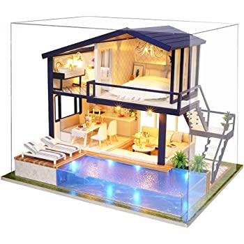 Spilay DIY Miniature Dollhouse Wooden Furniture Kit,Handmade Mini Modern Apartment Model with Dust Cover & Music Box ,1:24 Scale Creative Doll House Toys for Teens and Adult Craft Gift(Time Apartment)