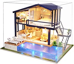 Spilay DIY Miniature Dollhouse Wooden Furniture Kit,Handmade Mini Modern Apartment Model with Dust Cover & Music Box ,1:24 Scale Creative Doll House Toys for Children Gift(Time Apartment) a066