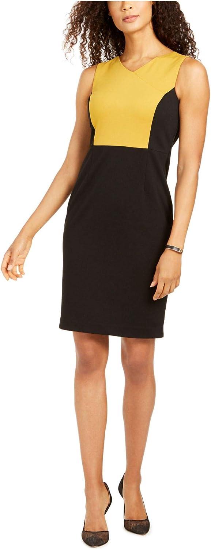 Kasper Womens Petites Colorblock V-Neck Sheath Dress Gold 6P