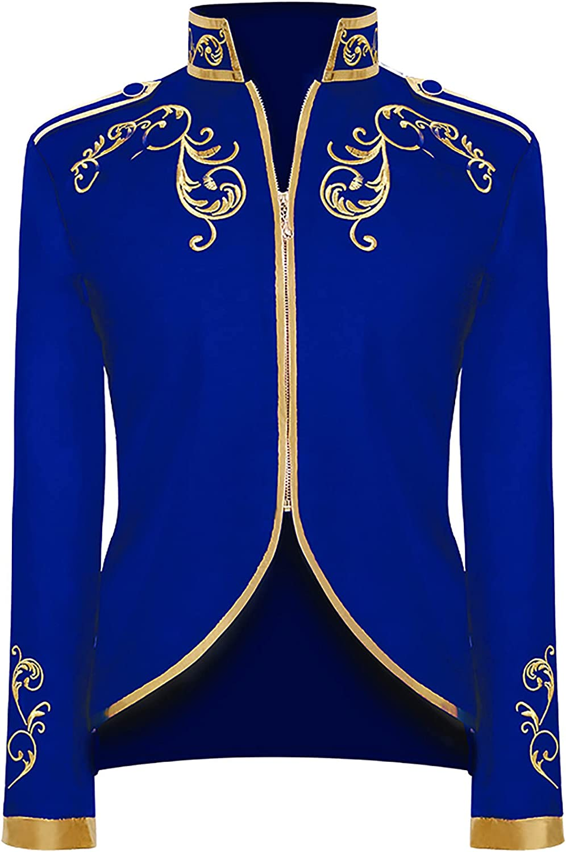 Men's Fashion Coat Halloween Retro England Style Zippers Stitching Suit Gold Embroidered Long Sleeve Tuxedo Jacket