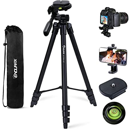 Endurax 60'' Camera Tripod Stand Compatible with Canon Nikon DSLR with Universal Phone Holder, Bubble Level and Carry Bag