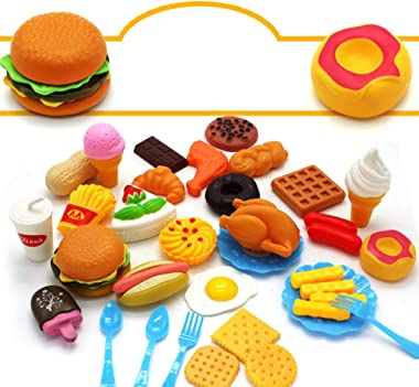 minansostey 1 Set Children Play House Role-Playing Game Simulation Food Hamburger Model Set Snacks Cognitive Kitchen Cooking Educational Toys