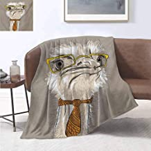 jecycleus Indie Children's Blanket Sketch Portrait of Funny Modern Ostrich Bird with Yellow Eyeglasses and Tie Lightweight Soft Warm and Comfortable W70 by L84 Inch Taupe Beige Yellow