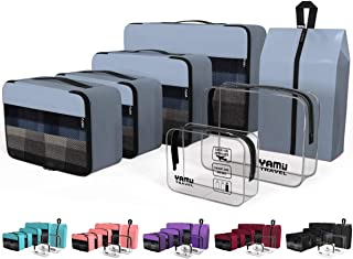 YAMIU Packing Cubes 7-Pcs Travel Organizer Accessories with Shoe Bag & 2 Toiletry Bags(Grey)