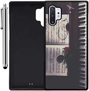 Custom Case Compatible with Galaxy Note 10 Plus (Sheet Music Roses Wine and Piano) Edge-to-Edge Rubber Black Cover Ultra Slim | Lightweight | Includes Stylus Pen by Innosub