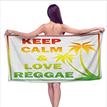 Andasrew Custom Bath Towel Rasta,Keep Calm and Love Reggae Quote in Ombre Rainbow Colors Music Themed, Pale Green Red and Yellow,W12 xL35 for bathrooms, Beaches, Parties