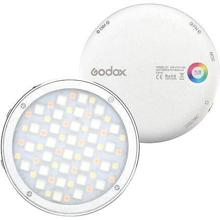 【Godox正規代理店】GODOX R1 RGBビデオライト 丸型 LEDビデオライト 2500K〜8500K CRI 98 磁気吸着機能 14 FX特殊効果 OLEDパネル USB Type-C充電 ビデオ録画用 ポートレート静物写真など用 (シルバー)