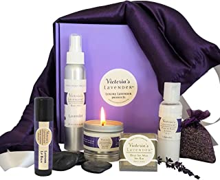 Victoria's Lavender Luxury Lavender Gift Basket for Women| Lavender Neck Wrap plus All-Natural Lavender aromatherapy gifts with essential oils| Perfect Relaxation Gift set for Stress-relief
