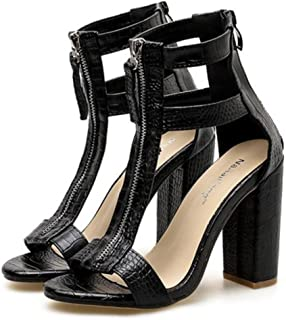 GLJJQMY Women's Open-Toe Sandals Shallow Mouth High Heels T-Style Fashion Wild Rome Work Professional Shoes Black Court Shoes Party Party Evening Women's Sandals (Color : Black, Size : 37 EU)