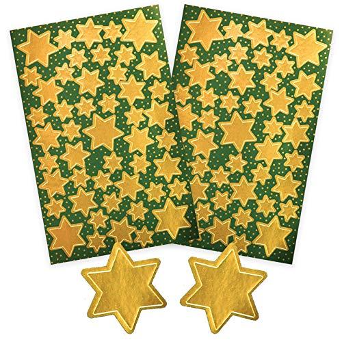 AVERY Zweckform Art. 52806 Aufkleber Weihnachten 86 Sterne (Weihnachtssticker, goldene Glanzfolie, selbstklebend, Deko Weihnachten, Weihnachtspost, DIY)