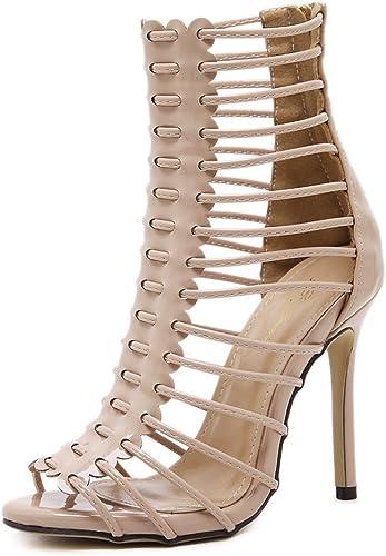Femmes Des sandales Peep toe Strappy Plate-forme Stylet été été Talon haut Noir romain Chaussures Soir Bal de promo Fête  le plus récent