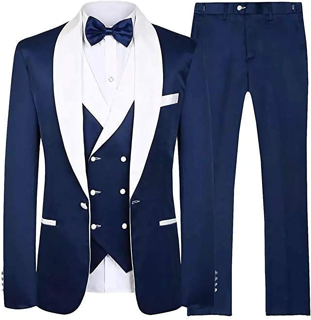 Onlylover Three Piece Men's Suit Navy Blue Groom Tuxedos White Shawl Lapel Men Suits with Pants Wedding Business Suit(Navy Blue,46 chest/40 Waist)