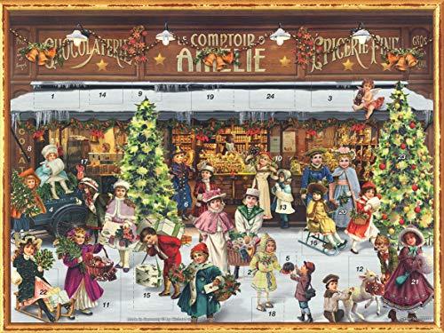 Nostalgischer Adventskalender aus Papier mit Bildern und Glitzer für Kinder und Erwachsene