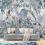 MILUSEN Planta tropical Flor Pájaro colorido Papel pintado Selva Loro Mural Sala de estar Papel tapiz Sin costuras Revestimiento de pared Azul