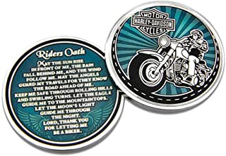 Harley-Davidson Rider's Oath Challenge Coin, 1.75 in Coin, Blue & Silver 8008581