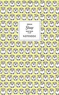 Sheep Notebook - Ruled Pages - 5x8 - Premium: (Yellow Edition) Fun animal notebook 96 ruled/lined pages (5x8 inches / 12.7...