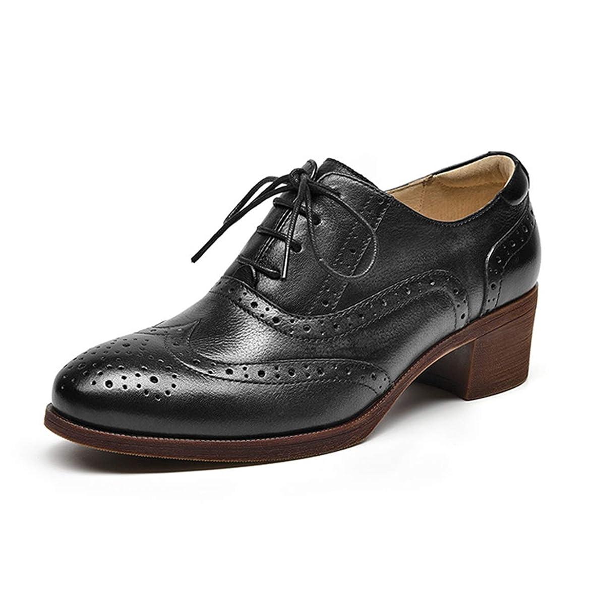 逆に最初は雄弁家[ZUYEE] (ズイェ) レディース レースアップシューズ 本革 ヒール ウイングチップ オックスフォードシューズ レトロ おじ靴 太めヒール 歩きやすい