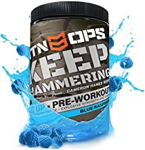 MTN OPS Cameron Hanes Keep Hammering Pre-Workout Supplement, Blue Raspberry, 30 Servings, Blue Raspberry, 23.3 Ounce