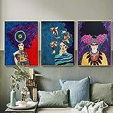 DCLZYF Nordic Abstract Vintage Colorful Girl Wall Art Painting Canvas Poster Wall Pictures Sala de Estar decoración del hogar-40x60cmx3 (sin Marco)