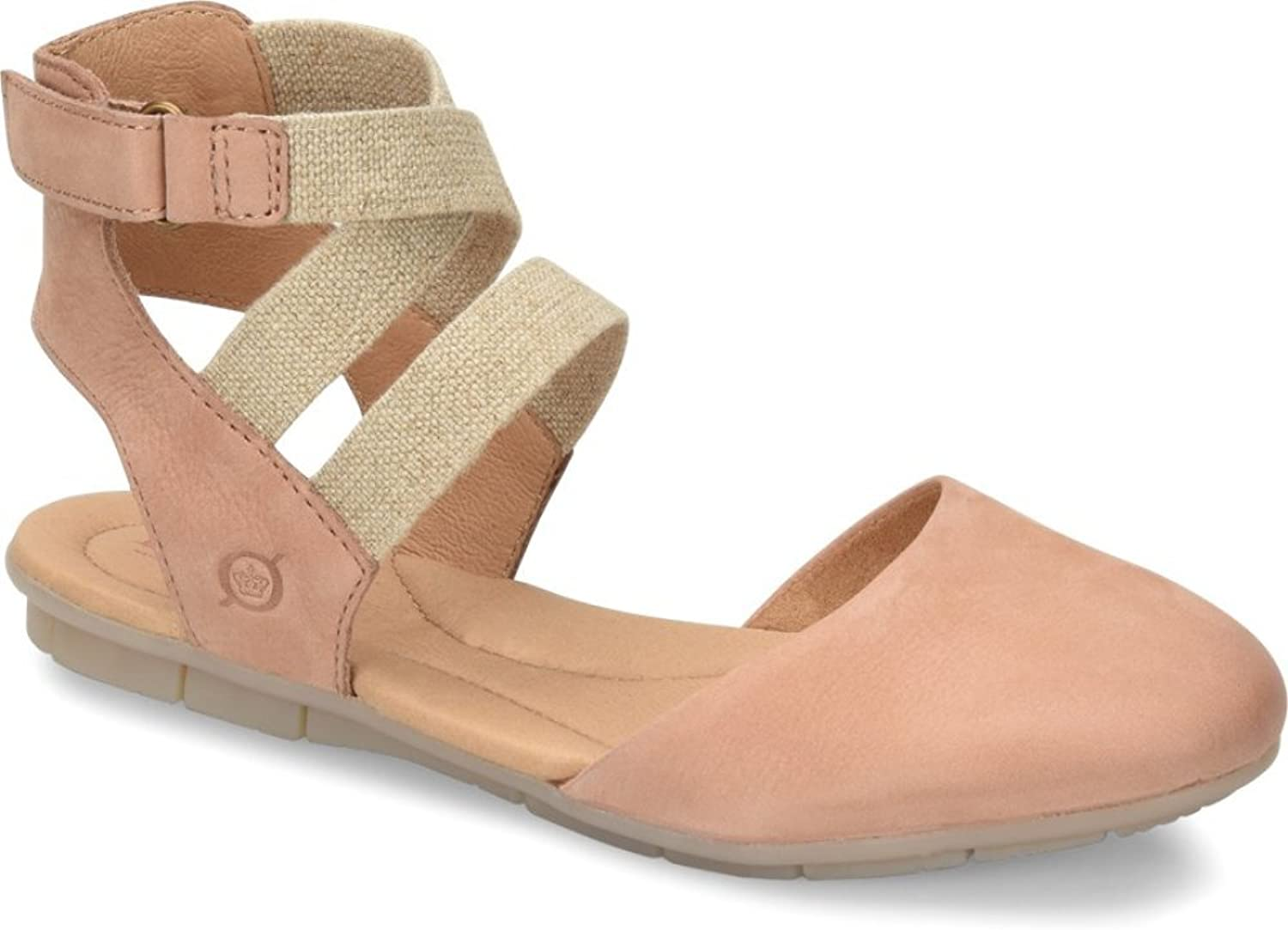 Born Womens Breck Leather Ankle Wrap Flats