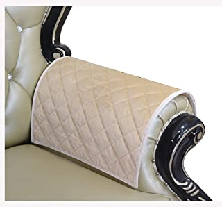 Haomaijia Nonslip Beige Armrest Covers Couch Sofa Arm Covers for Leather Couch Quilted Furniture Protector for Dogs Kids Pets (ASand, 14 x14 Inches Sofa Armrest Cover-2 Pieces)