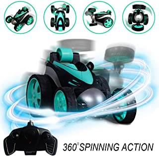 RC Vehicle Four Wheel Stunt Car, Remote Control Car, 360 Degree Rolling Rotating Rotation, Safe & Durable, Birthday Gift for Kids, Boys & Girls Lake Blue