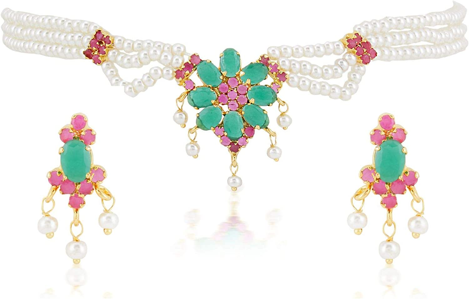 Efulgenz Indian Bollywood 14 K Gold Plated Cubic Zirconia Faux Ruby Emerald Pearl Choker Necklace Earring Bridal Jewelry Set